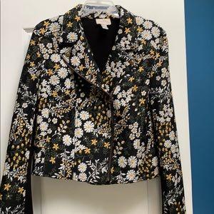 Floral embroidered  moto jacket